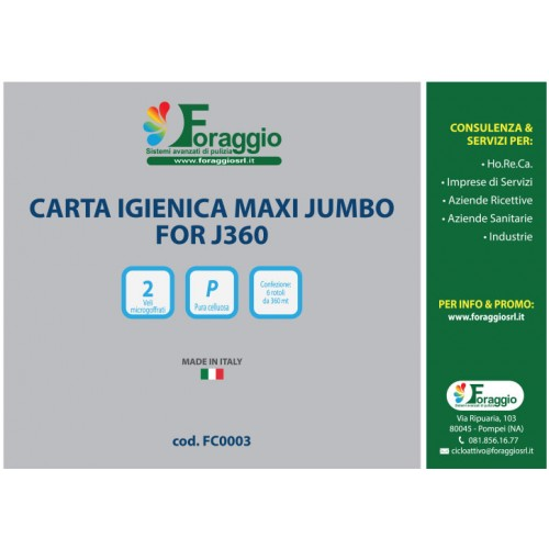 ROTOLO CARTA IGIENICA MAXI JUMBO FOR J360