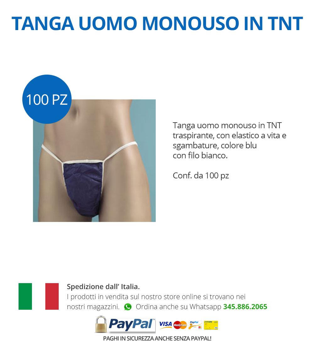 331d061279ec Tanga uomo monouso in TNT traspirante, con elastico a vita e sgambature,  colore blu con filo bianco.